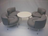 中古オフィス家具の応接セットです!明るいグレーでオフィスを明るく演出!